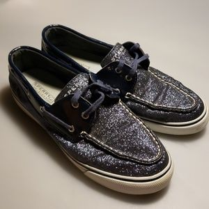 Blue sparkle sperry top siders